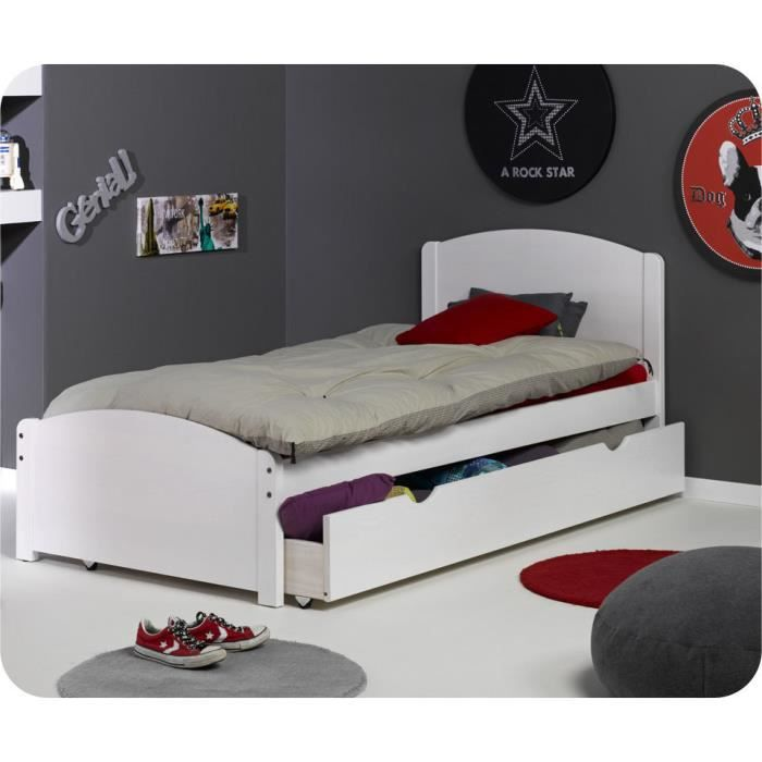 lit enfant gigogne nature blanc 90 x 190 cm achat vente lit gigogne lit enfant gigogne. Black Bedroom Furniture Sets. Home Design Ideas