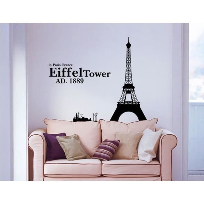 grande taille tour eiffel art stickers d corati achat vente stickers cdiscount. Black Bedroom Furniture Sets. Home Design Ideas
