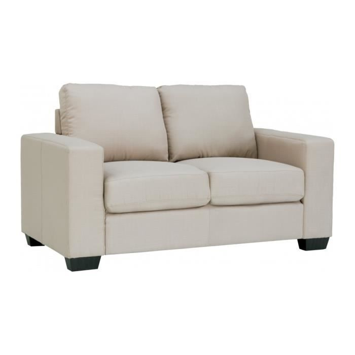 Canap 2 places tissu beige achat vente canap sofa for Canape 2 places arrondi