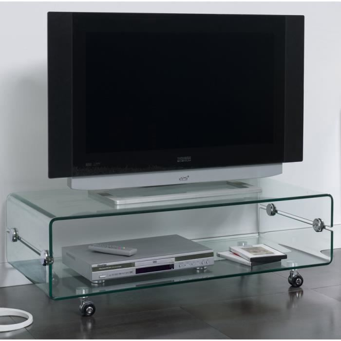 Meuble Tv En Verre Transparent Design Candy L 100 X P 50 X H 35 Cm Transparent