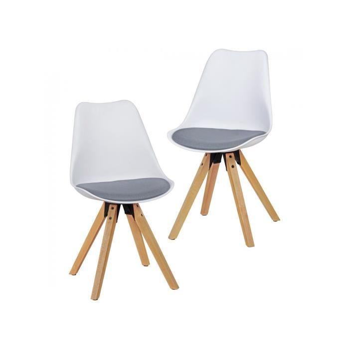 coloris chaises Lot scandinaves en de et tissu 2 plastique 54jLAR