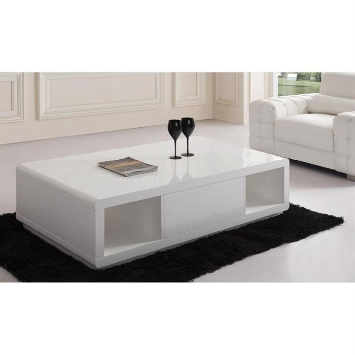 Table basse laqu e blanche elodie meubles bon prix for Table basse laquee blanche