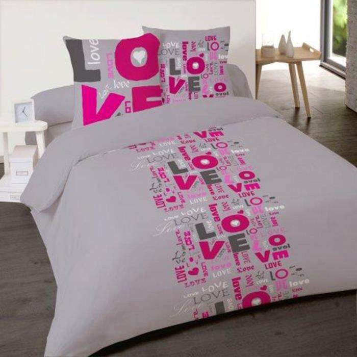 housse de couette flanelle love flash 200x200 avec 2 taies assorties achat vente housse de. Black Bedroom Furniture Sets. Home Design Ideas