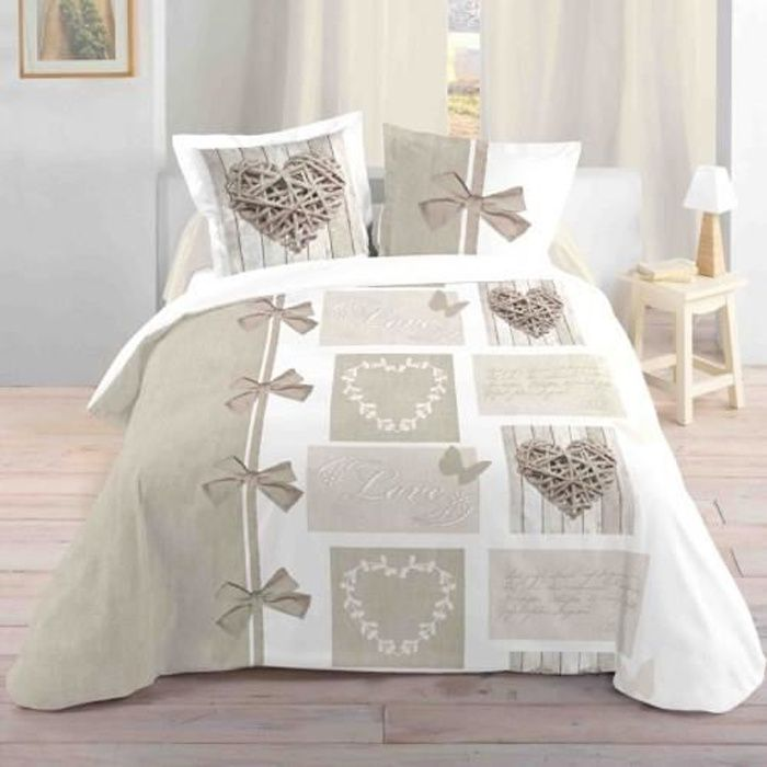 LOVELY CASA Housse de couette 240x260cm + 2 taies Heart - 100%...