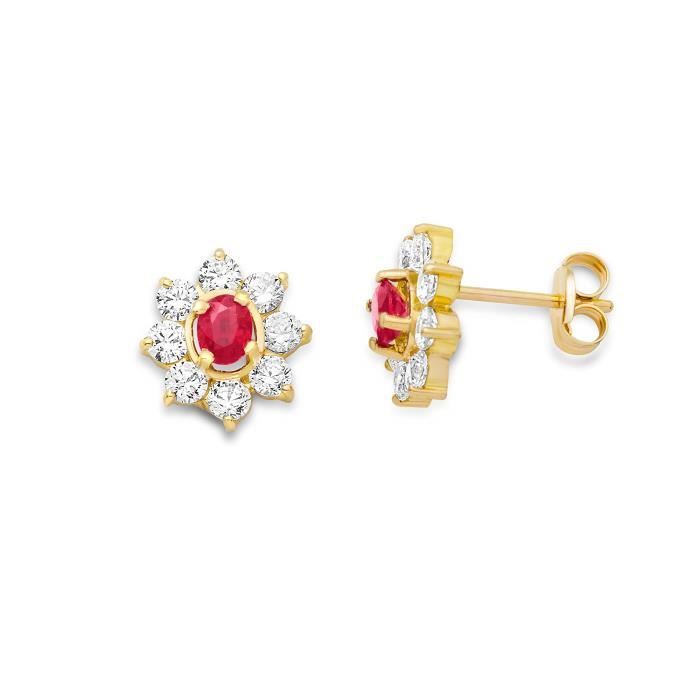 Miore 9ct Yellow Gold Cluster Ruby And Cubic Zirconia Stud Earrings 1NU0XO