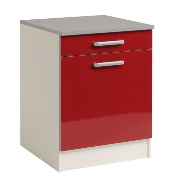 El ment bas de cuisine 60 cm rouge brillant h 86 x l 60 x for Element bas de cuisine