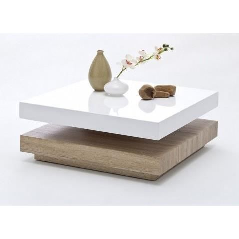 Table basse carree pivotante laque blanc bois margo - Table basse bois blanc ...