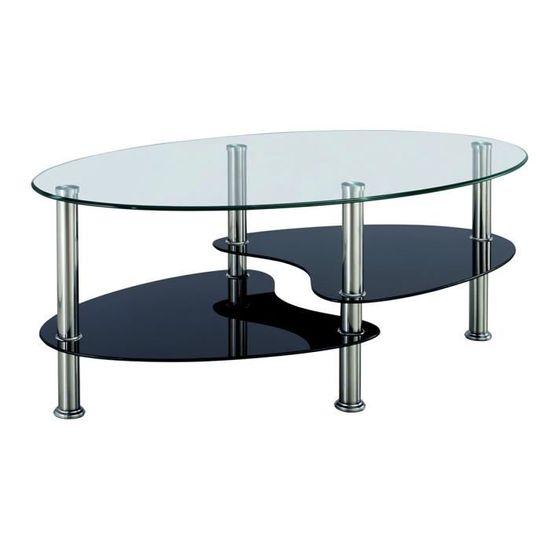 Table Basse Noir Et Blanc En Verre Trempe Ovale Opunake Achat Vente Table Basse Table Basse Noir Et Blanc E Cdiscount