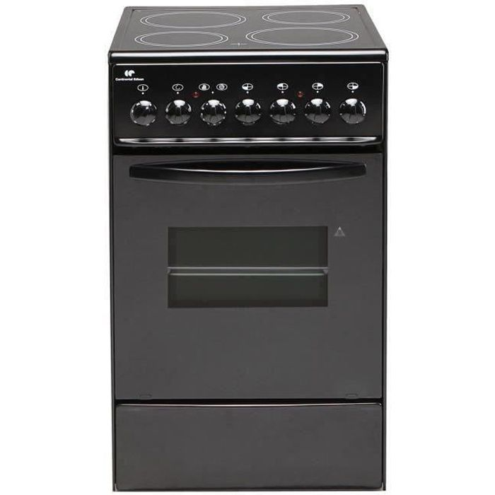 Continental Edison CVMC5060B - Cuisinière table vitroceramique- 4 Foyers- 1700W- Four électrique-Catalyse-45,36L-A-L49X83cm-Noir