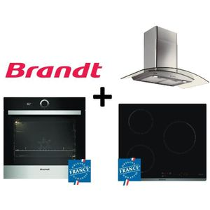 PACK cuisson BRANDT:BXP5560X Four multifonction 68L Pyrolyse Inox+BPI6310B Table de cuisson induction-3 zones+AD1070X Hotte