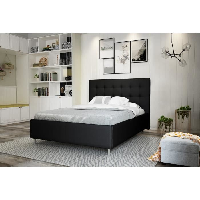 finlandek lit adulte tyyli contemporain pieds en m tal noir l 173 x l 210 cm achat vente. Black Bedroom Furniture Sets. Home Design Ideas
