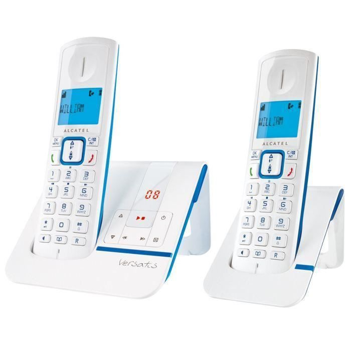 destockage alcatel versatis f230 duo voice t l phone sans fil r pondeur blanc bleu t l phone. Black Bedroom Furniture Sets. Home Design Ideas