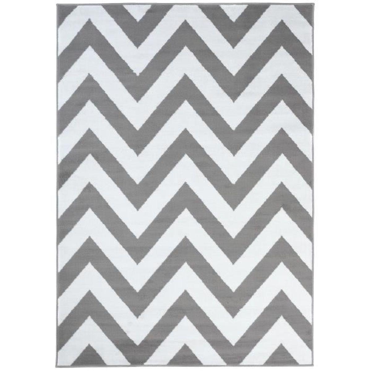 TAPISO Luxury Tapis de Salon Chambre Ado Design Moderne Gris Clair Blanc  Motif Zigzags Fin Très Doux 200 x 300 cm