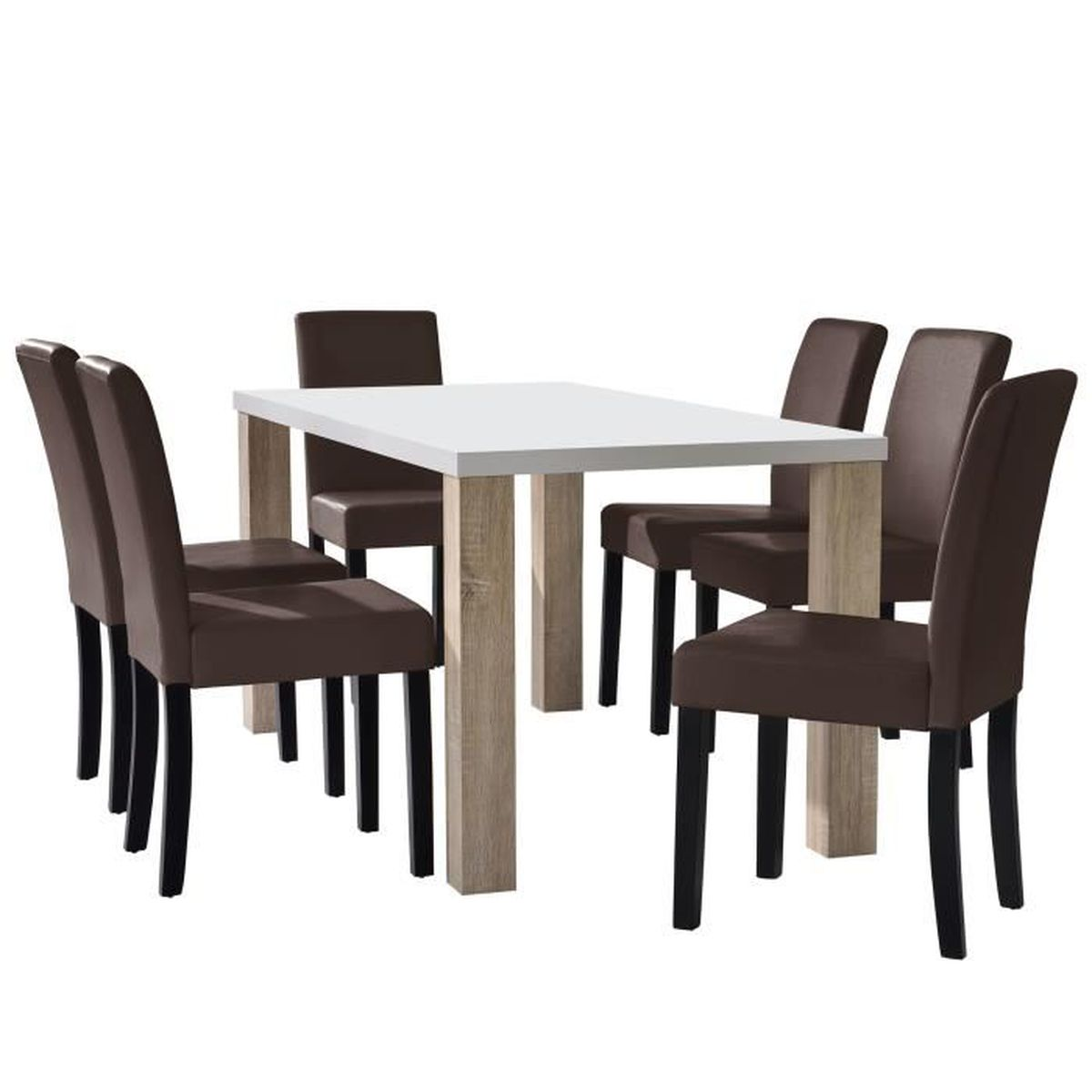 Table manger ch ne blanc avec 6 chaises marron for Chaises table a manger