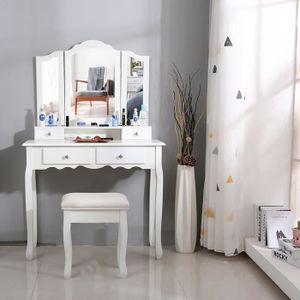 COIFFEUSE Coiffeuse de maquillage avec 3 miroirs 4 tiroirs e