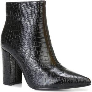 Bottines Femme Talon Haut Faux Croco Verni Cheville Bottes Chaussures Taille Bout Carré Femme