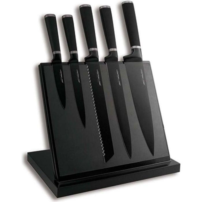 Bloc Aimanté noir 5 Couteaux Noir anti adhérent
