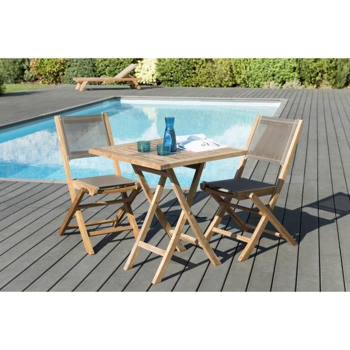 Ensemble de jardin en teck : 1 table carrée pliante 70 x 70 cm - Lot de 2 chaises pliantes en textilène, couleur taupe JARDITECK