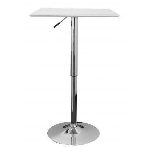 AMSTYLE   Table de bar carrée à hauteur réglable en MDF et revêtement effet cuir Blanc 60 x 60 cm - Altona