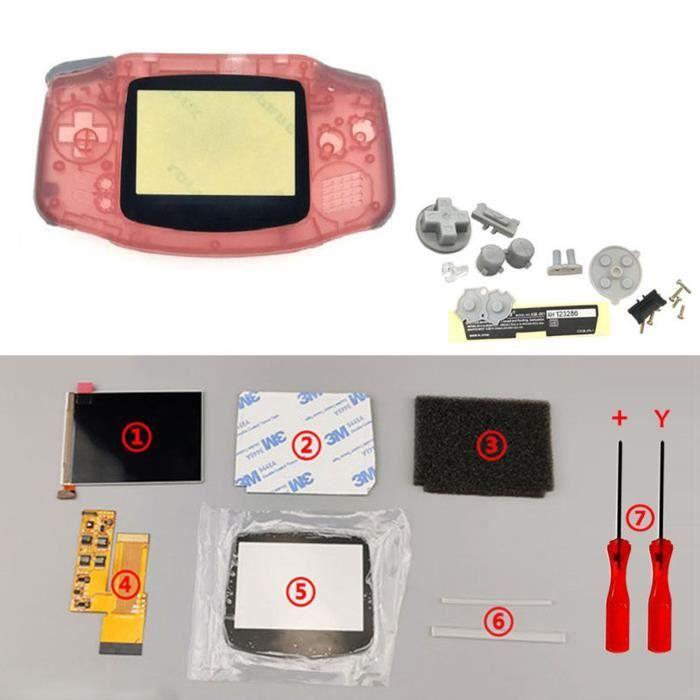 Kits d'écran LCD IPS V2 Boutons de boîtier de boîtier de coque prédécoupés pour console GBA Game Boy Advance Rose transparent