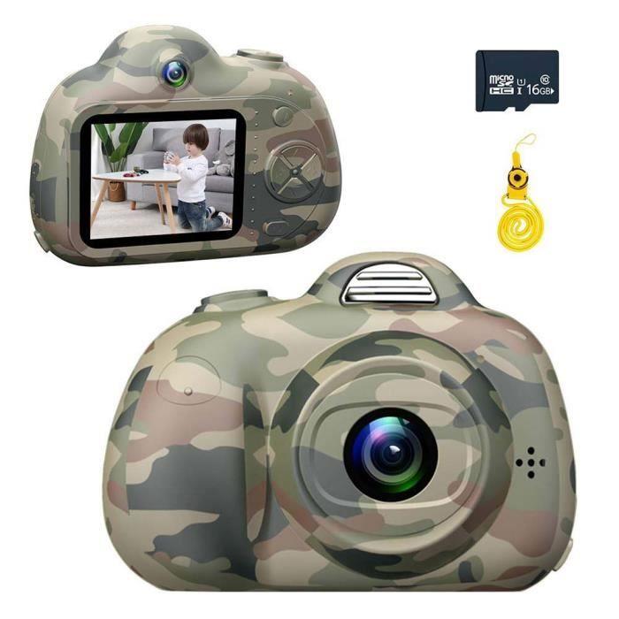 Enfants Appareil Photo numérique 2 Pouces écran Appareil Photo numérique avec Couverture Souple en Silicone 16G Micro SD Card (Vert