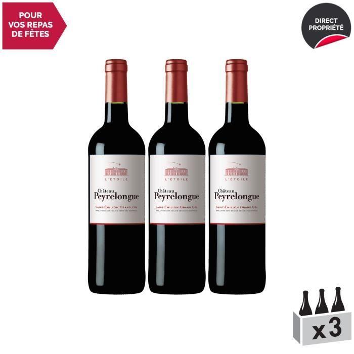 Château Peyrelongue Saint-Emilion Grand Cru L'Etoile Rouge 2018 - Lot de 3x75cl - Vin AOC Rouge de Bordeaux - Cépages Merlot, Cabern