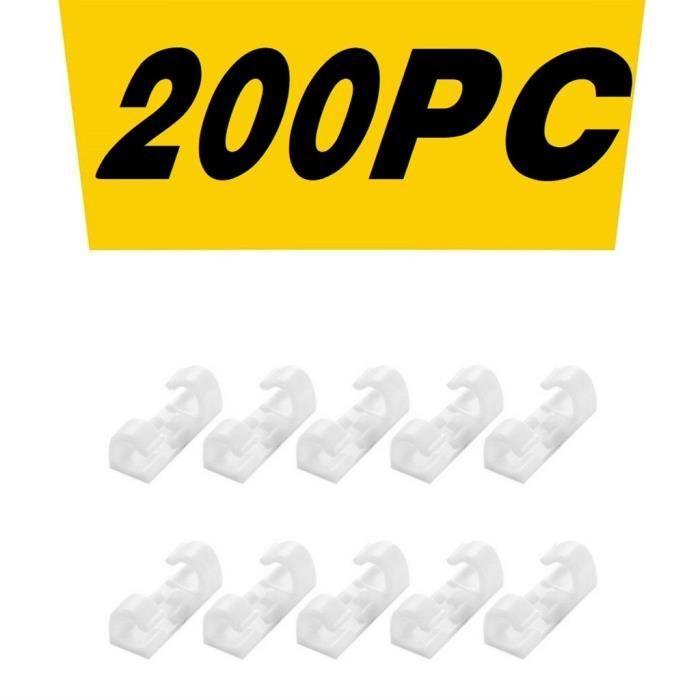 Pince de fixation pour organisateur de câble de bureau auto-adhésif blanc 200pc HAD200915002D_4807