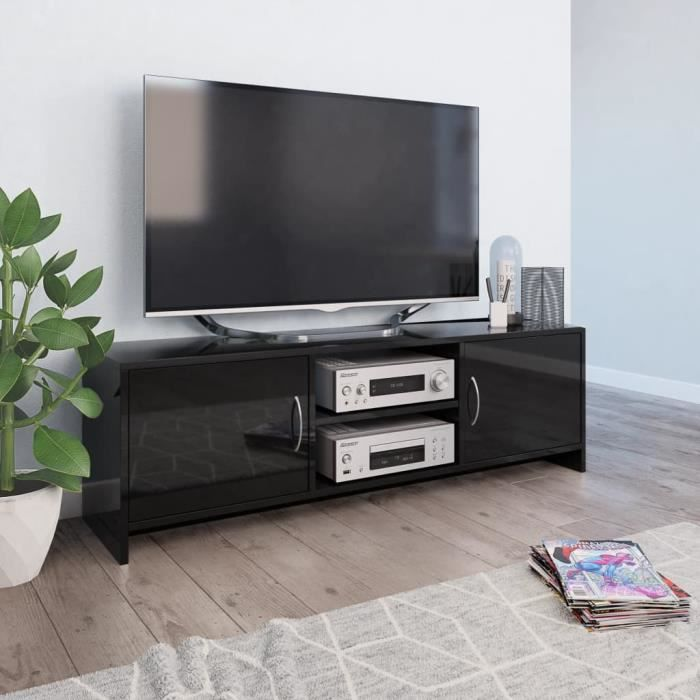 WIPES Meuble TV Noir brillant 120 x 30 x 37,5 cm Aggloméré