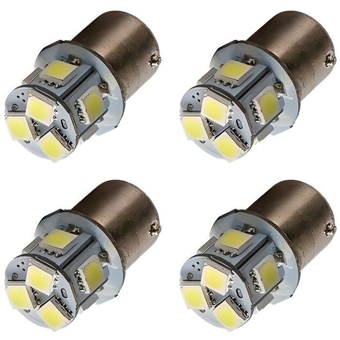 Ampoule R5W R10W P21W LED 8 leds 1156 6000K Veilleuses Feux Auto Moto
