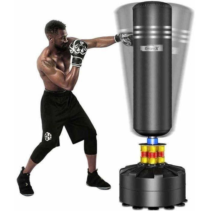 Sac de Frappe Adulte Debout Sac de Boxe Sac de Frappe Sur Pied - Noir - 1,75m Idéal Pour Boxe, Kick Boxing