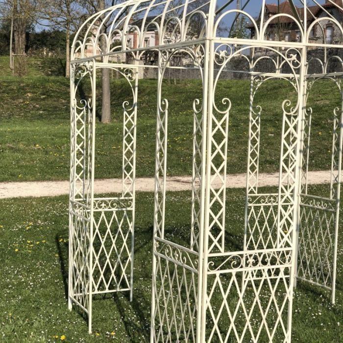Tonnelle Pergola Gloriette Carrée de Jardin en Fer 300 cm x 220 cm x 220 cm Blanc - 14304-Pergola