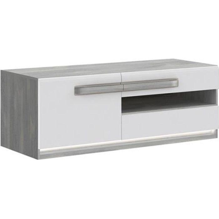 Meuble TV blanc laqué et décor chêne gris - Collection ALEXIANE