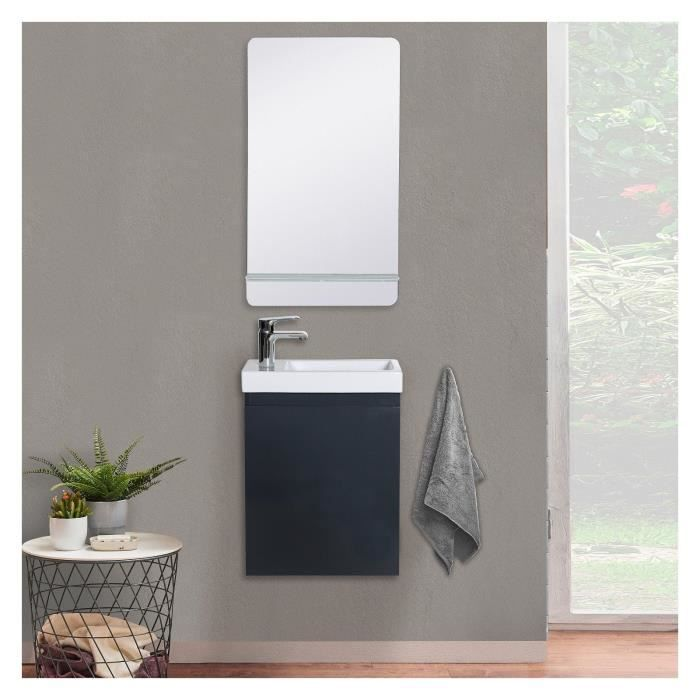 Lave-mains gris anthracite LISA avec miroir tablette blanche