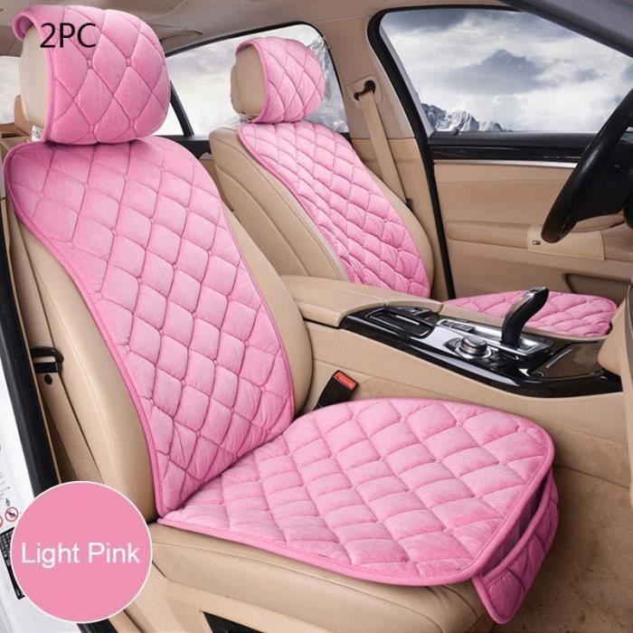 Ensemble de housses de siège de voiture universelles en peluche, rose, tapis de protection de siège Au Front Light Pink 2pc
