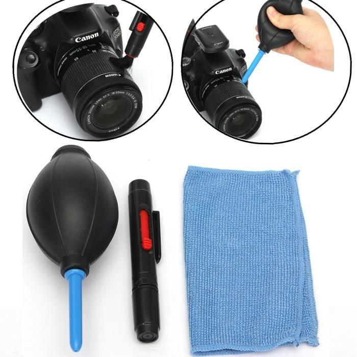 3 En 1 Nettoyage Lentille Kit Nettoyage Dust Blower Pen Tissu Pr Dslr Vcr Vidéo