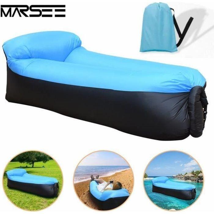Gonflable-Sofa,Imperméable à l'eau longue Canapé Sac à Couchage Matelas Portable Lit en Plein Air étanche extérieur W447