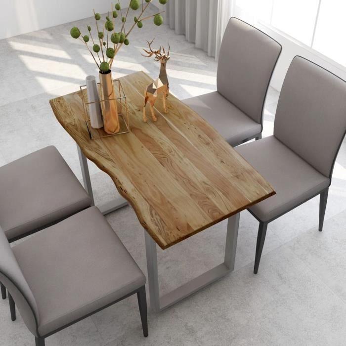 Table salle à manger de 4 à 6 personnes Industriel et Rustique - Bois d'acacia Solide & Pieds en Acier Argenté - 118x58x76 cm