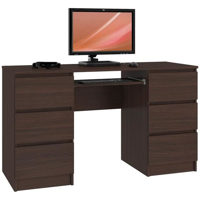 GOYA - Bureau informatique moderne 135x77x50 cm - 6 tiroirs + support clavier - Gaming - Table ordinateur multi-rangements - Wenge