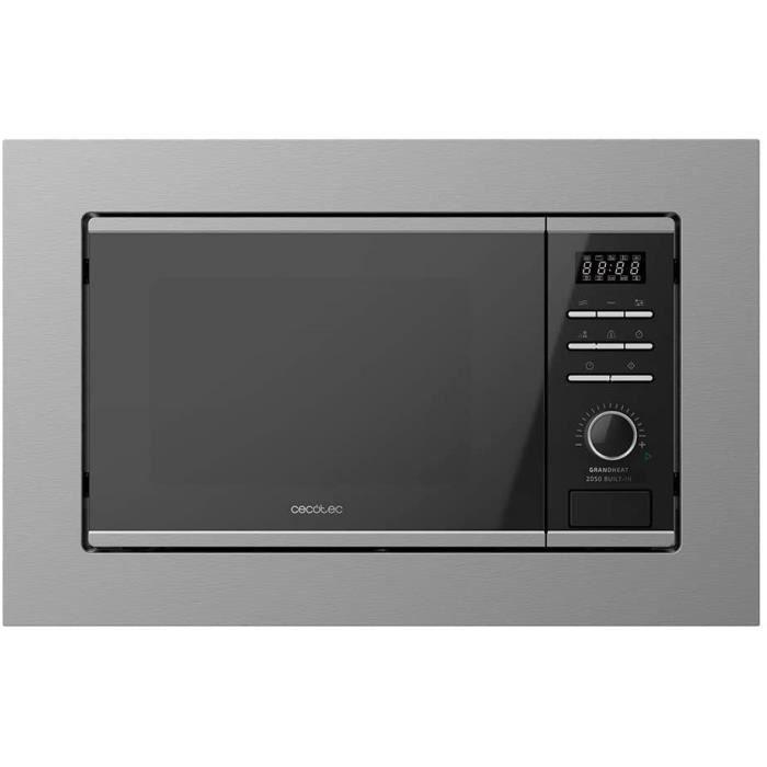 FOUR Cecotec Micro-ondes Encastrable Num&eacuterique GrandHeat 2050 Built-In Steel Black. 800W, 20L, Gril avec 1000W, 7 Fonctio173