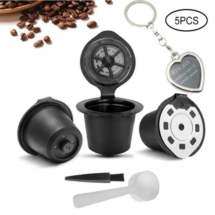 3PCS Capsule Filtre de Café Réutilisables Compatibles avec Nespresso + 1 Cuillère Plastique + 1 Brosse de Nettoyage B31086