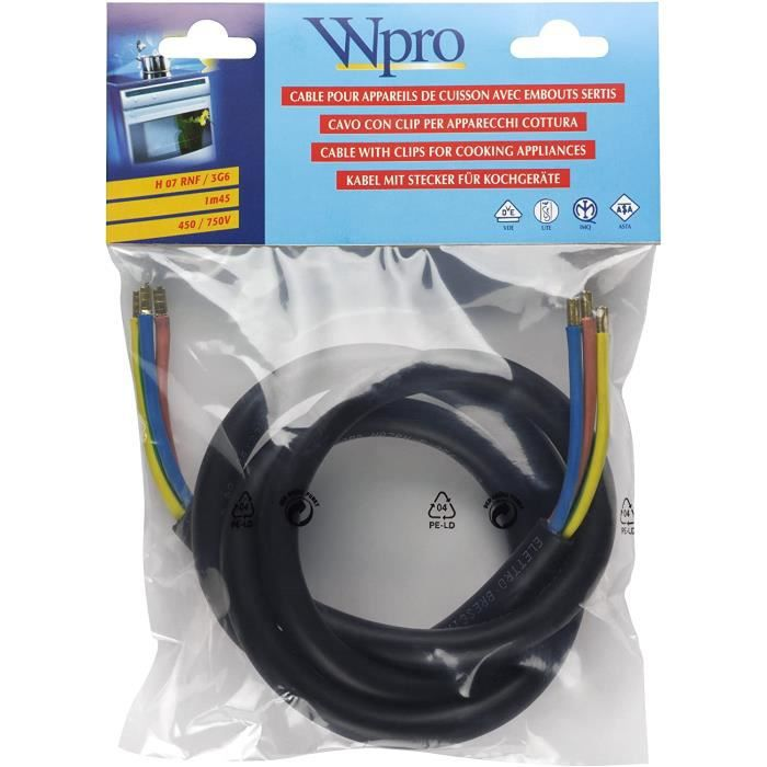 Wpro CAB360 Câble HO7 RNF 3G6 Sans Prise pour Appareils de Cuisson > 5750 Watts A270