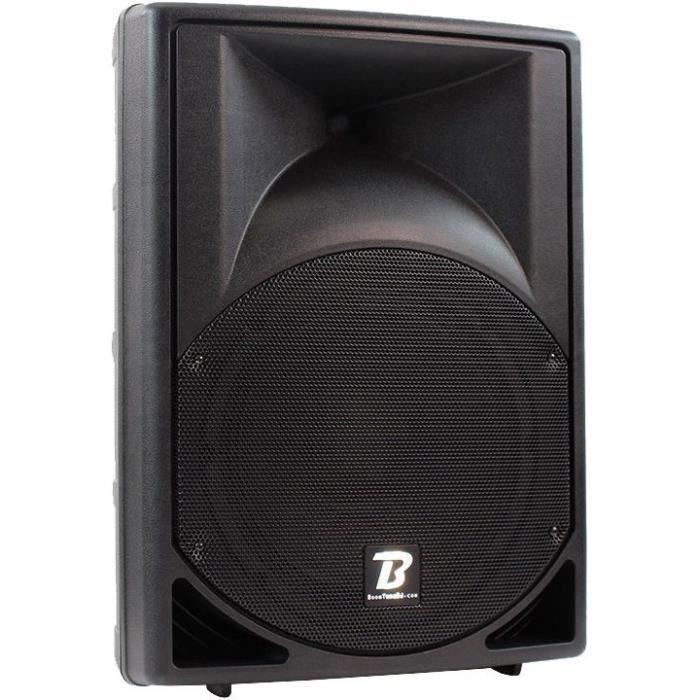 BOOMTONEDJ MS12A MP3 Enceinte professionnelle amplifiée ABS 2 voies 12- 200W - Entrée micro, Lecteur USB/SDHC et récepteur Bluetooth