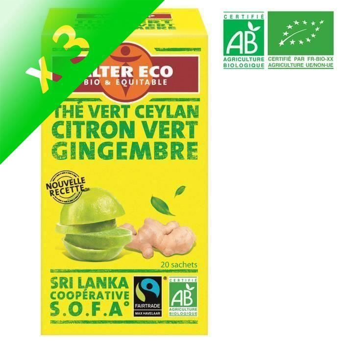 [LOT DE 3] ALTER ECO Thé Vert Citron Vert Gingembre Bio 40g