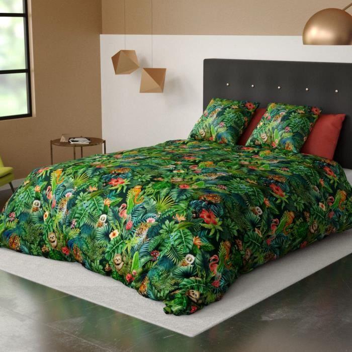 Parure de lit 3 pièces Housse de Couette 100% Coton 240x220cm 2 taies d'oreiller 63x63cm 57 Fils Jungle Amazonie