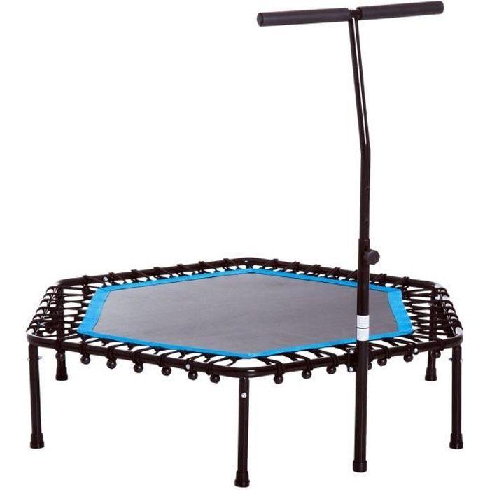 Trampoline de Fitness gymnastique haute performance Ø 114 cm élastiques Bungee + guidon hauteur réglable 98-114 cm bleu