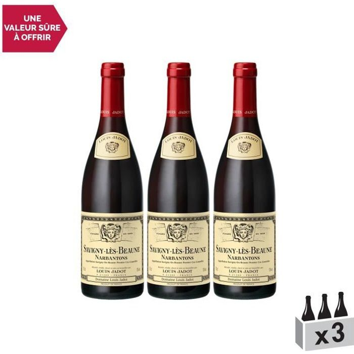 Savigny-lès-Beaune 1er Cru Les Narbantons Rouge 2014 - Lot de 3x75cl - Louis Jadot - Vin AOC Rouge de Bourgogne - Cépage Pinot Noir