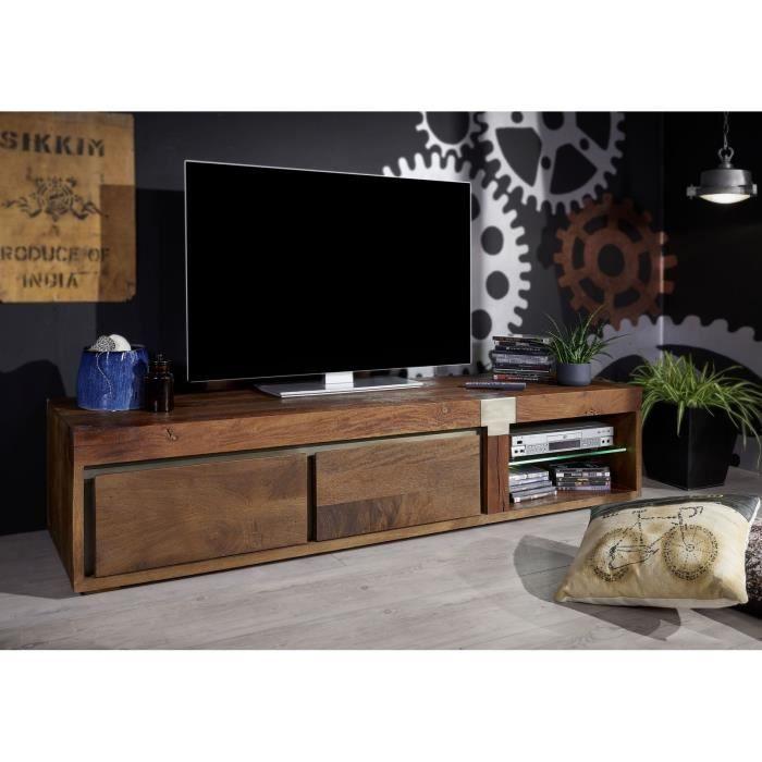 Meuble TV - Bois massif de manguier laqué (Marron) - AMSTERDAM #01