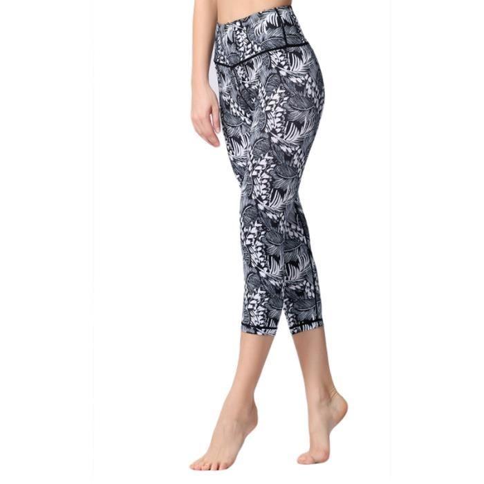 3-4 Pantalon Taille Haute Femme compression Pantacourt de Fitness Yoga