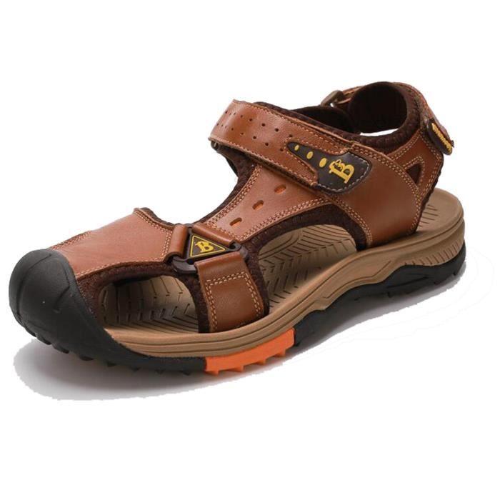 MBF® Homme Sandales Casual Plage Randonnée Toe Fermé en Cuir Vachette Chaussures de Sport Anti-glissant Confortable - Brune Claire