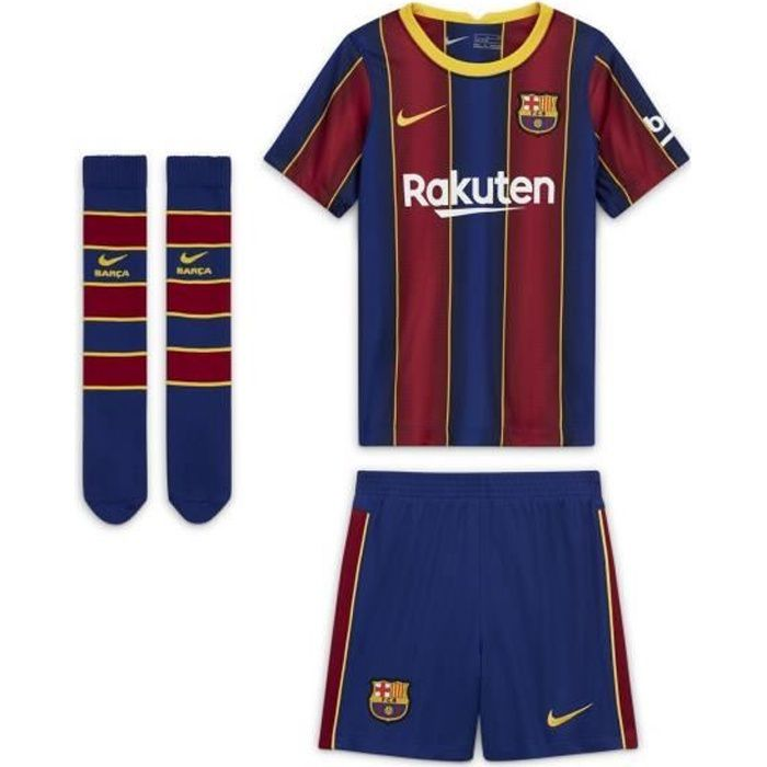 Mini Kit Barça Domicile 2020/2021 Maillot / Short : 100 % Polyester recyclé. Chaussettes : 71 % Nylon / 26 % Polyester / 3 % Elastha